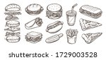 vector set of fast food. vector ... | Shutterstock .eps vector #1729003528