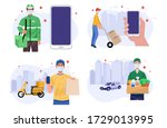 home delivery banners. online... | Shutterstock .eps vector #1729013995