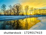 Winter Sunset Rural River...