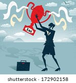 abstract businesswoman holds... | Shutterstock . vector #172902158
