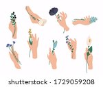 hands holding bouquets or... | Shutterstock .eps vector #1729059208