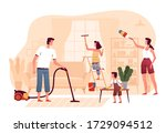 happy family is cleaning at... | Shutterstock .eps vector #1729094512