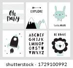 nursery posters for baby room ... | Shutterstock .eps vector #1729100992
