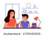 boy student is sitting at home...   Shutterstock .eps vector #1729102525