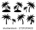 Tropical Palm Trees Set  Black...