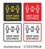 keep safe distance of 2 meter... | Shutterstock .eps vector #1729199818