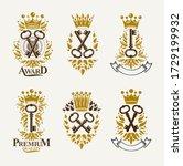 vintage keys vector logos or... | Shutterstock .eps vector #1729199932