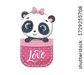 cute baby panda in pocket....   Shutterstock .eps vector #1729255708