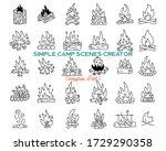 vintage hand drawn campfires... | Shutterstock .eps vector #1729290358