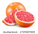 Small photo of Grapefruit isolated. Pink grapefruit whole, half, slice on white. Grapefruit slices with zest isolate. With clipping path. Full depth of field.