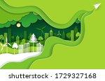 paper art and digital craft...   Shutterstock .eps vector #1729327168