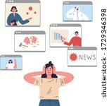 the young woman is tired of a... | Shutterstock .eps vector #1729346398
