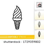 wafer cone ice cream black line ... | Shutterstock .eps vector #1729359802