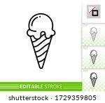 ice cream big ball in wafer... | Shutterstock .eps vector #1729359805