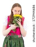 beautiful girl in dirndl with... | Shutterstock . vector #172944686