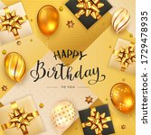 gold background with lettering...   Shutterstock . vector #1729478935