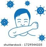 sneeze into elbow icon.sneeze... | Shutterstock .eps vector #1729544335