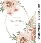 floral card with roses  peony ... | Shutterstock .eps vector #1729553485