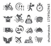 food delivery icons on white...   Shutterstock . vector #1729562965