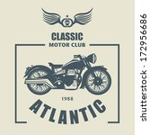 Vintage Motorcycle label, vector illustration
