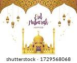 vector eid mubarak card.... | Shutterstock .eps vector #1729568068