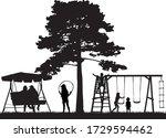 family  children silhouette at... | Shutterstock .eps vector #1729594462