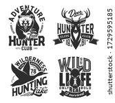 hunting sport t shirt prints ... | Shutterstock .eps vector #1729595185