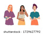 set of three young girls take... | Shutterstock .eps vector #1729627792