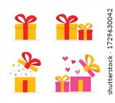 gift boxes set open surprise... | Shutterstock .eps vector #1729630042