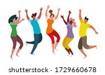 happy jumping people on a white ... | Shutterstock .eps vector #1729660678