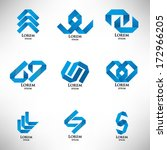 set of abstract blue logo in... | Shutterstock .eps vector #172966205