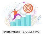 man runs up the ladder of... | Shutterstock .eps vector #1729666492