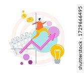 man runs up the ascending arrow ... | Shutterstock .eps vector #1729666495