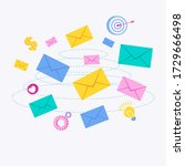 flying color envelope with... | Shutterstock .eps vector #1729666498