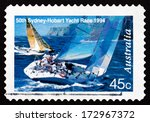 Small photo of AUSTRALIA - CIRCA 1994: a stamp printed in the Australia shows Two Yachts Abeam, 50th Sydney - Hobart Yacht Race, circa 1994