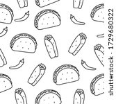taco and burrito seamless...   Shutterstock .eps vector #1729680322