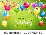 lettering happy birthday on...   Shutterstock . vector #1729702462