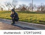 portrait of a girl  sitting on... | Shutterstock . vector #1729716442