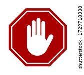 red stop hand block octagon... | Shutterstock .eps vector #1729718338