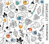 vegetables seamless pattern.... | Shutterstock .eps vector #1729725952
