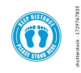 stand here and keep distance... | Shutterstock .eps vector #1729767835