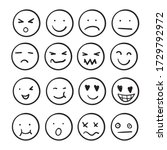 hand drawn ink emojis faces.... | Shutterstock .eps vector #1729792972