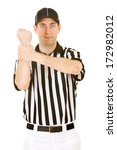 referee  man gives signal for... | Shutterstock . vector #172982012