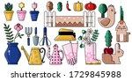 gardening tools set . vector... | Shutterstock .eps vector #1729845988