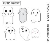 cute vector ghosts icons ... | Shutterstock .eps vector #1729871428