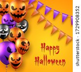 halloween background with scary ... | Shutterstock .eps vector #1729908352