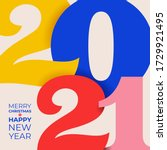colored 2021 happy new year.... | Shutterstock .eps vector #1729921495