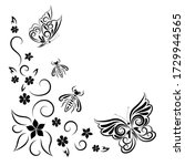 butterflies  wasps and flowers. ... | Shutterstock .eps vector #1729944565