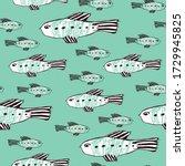 Hand Drawn Fish Seamless...