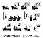 wfh or work from home video... | Shutterstock .eps vector #1729950862